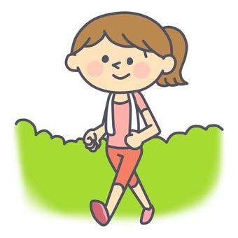 걷기를하는 여성