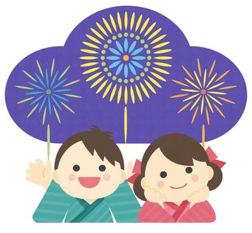 Illustration of summer _ fireworks _ children