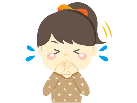Girl holding sneezing and coughing by hand