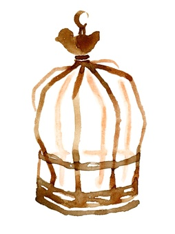 Antique style birdcage hand drawn watercolor