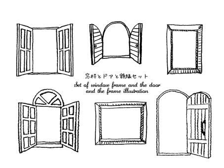 Window frame and door and picture frame set