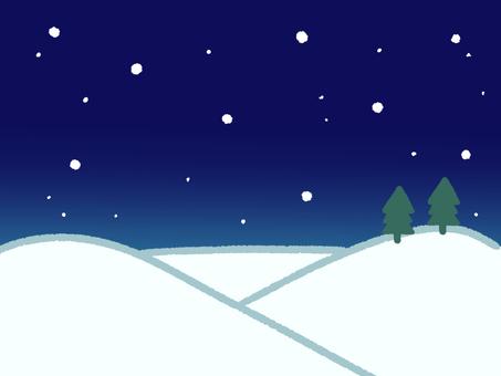 Snow scene at night