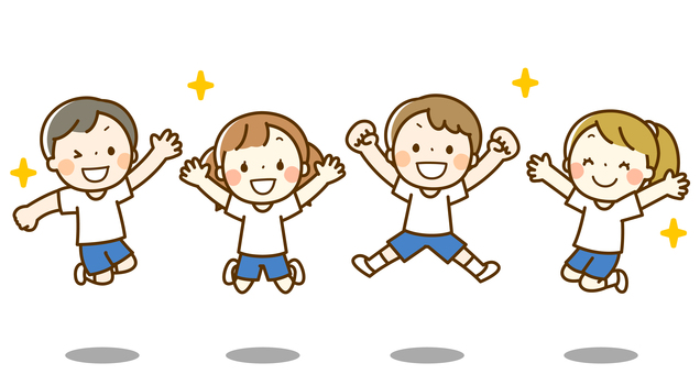 Jumping children (gymnastic clothes)