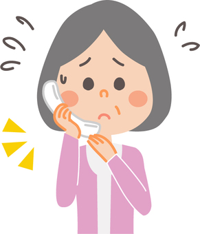 Mature housewife troubled during telephone