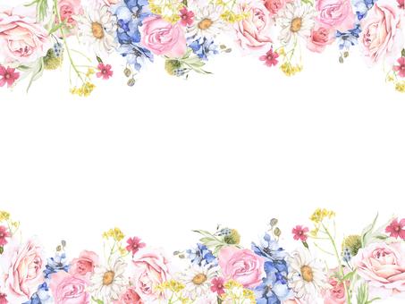 Flower frame 161 - flower frame of roses and delphinium