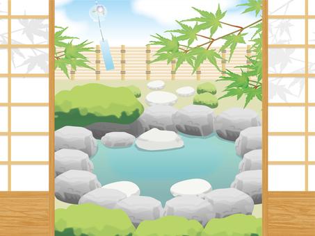 Pond over a shoji