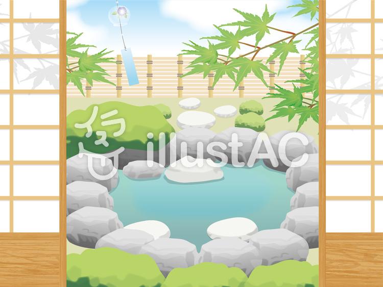 障子越しの池のイラスト