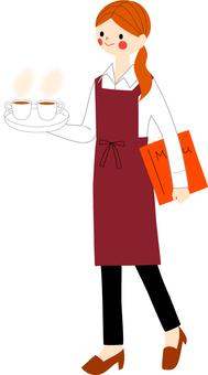 Cafe clerk woman