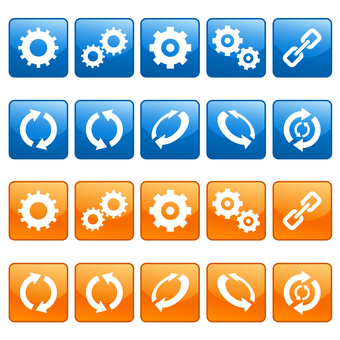 Gears and icons of recycling marks set