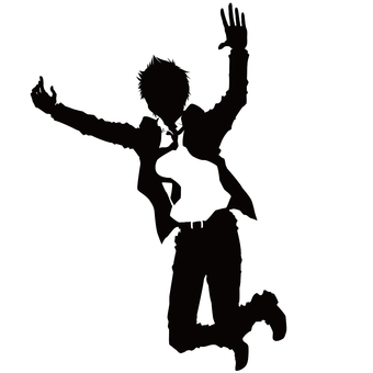 Men silhouette in suit to jump