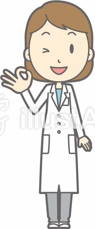 栄養士女性a-オッケー-全身のイラスト