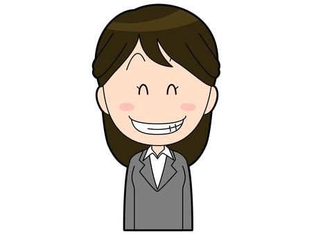 Female office worker in suit with grinning face _003