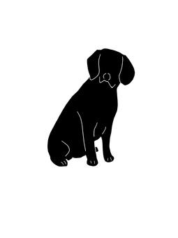 Beagle silhouette sitting 1