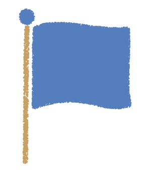 旗_手描き_青色
