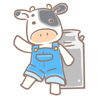 Cow and milk can