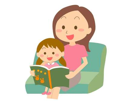 Parent and child reading a book