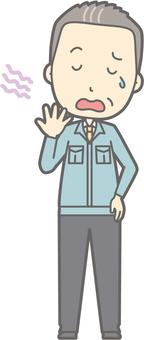 Middle-aged man work wear - yawning - whole body