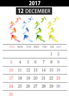 December 2017 Snowboarding calendar