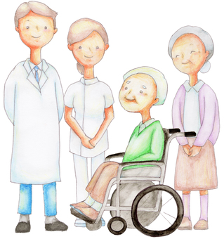 Medical staff and elderly couple