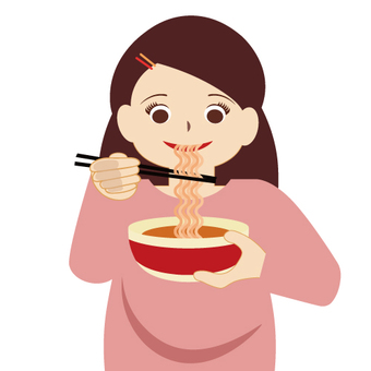 A woman eating instant noodles