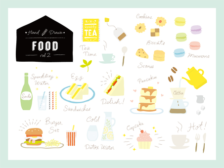 Handwritten wind food / drink illustration set 2