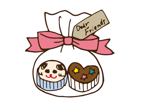 Wrapping two handmade cupcakes