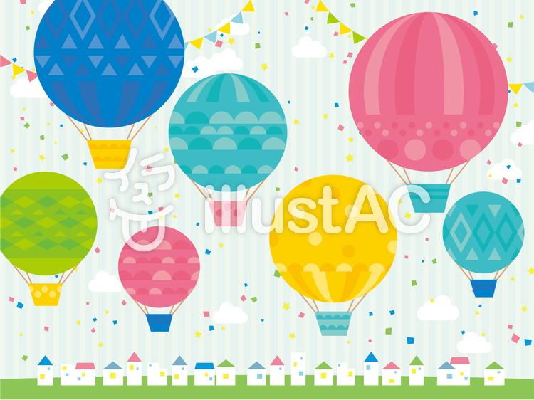 気球が浮かぶ賑やかな街のイラスト