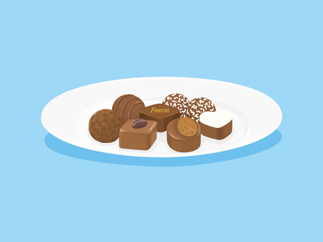 Chocolate on white dish 1