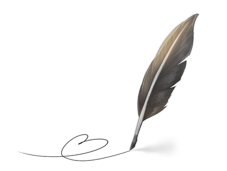 Feather pen (dark brown)