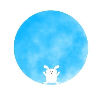원형 배경, 블루, 토끼