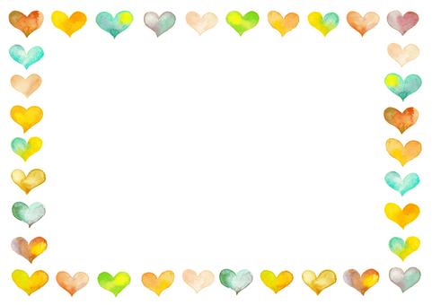 Watercolor heart frame-B4