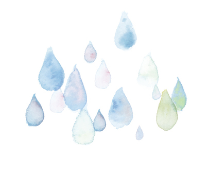 Water color illustration raindrops