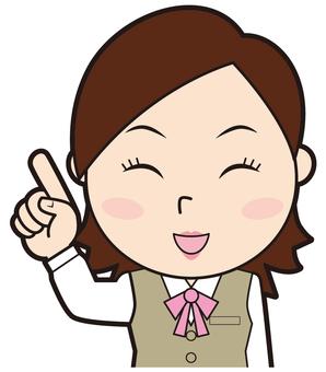 Pointing female employee (smile)