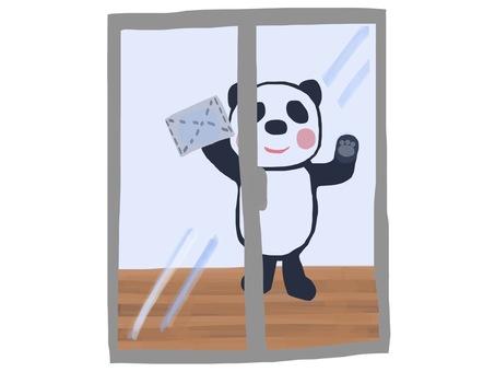 Cleaning panda window wiping