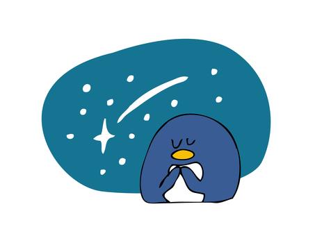 Penguin wishing a shooting star