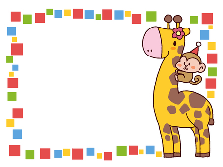 Giraffe and monkey frame