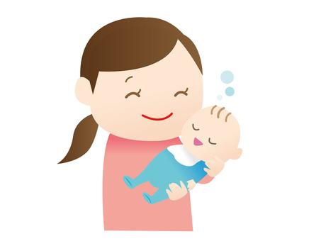 一个女人躺在一个婴儿