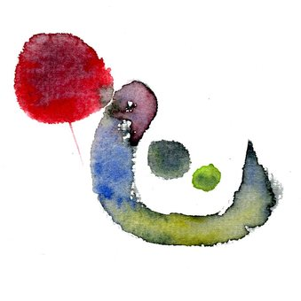 Heart New Year's card brush character