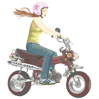 A woman riding a motorcycle