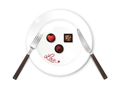 Valentine's chocolate and tableware B 01