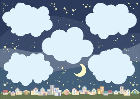 月亮的鎮在晚上