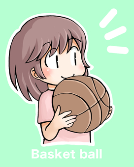 Basket with girl background