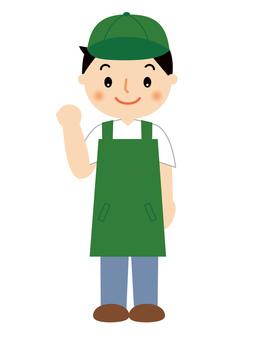 Male clerk full body illustration in apron