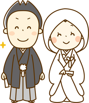Japanese style bride and groom