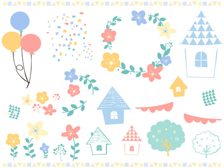 Set with balloons, house, flower decoration and tree Scandinavian style