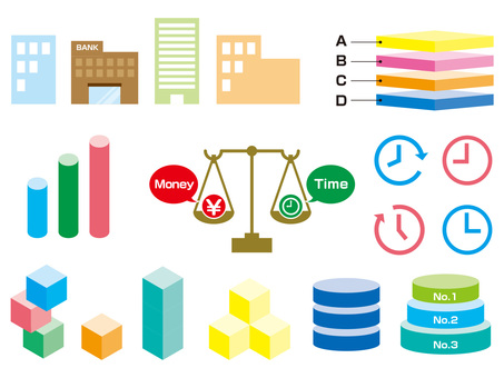 Business icons and diagrams that can be used to create materials