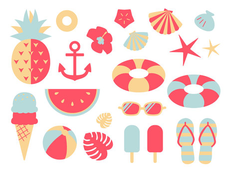 Summer illustration material set