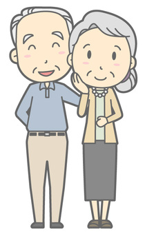 Elderly couple - smile - whole body