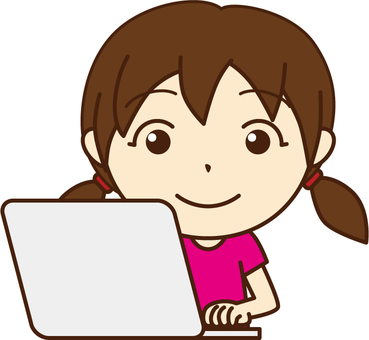 A girl using a personal computer