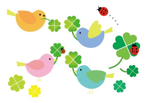 Birds and clover and ladybugs